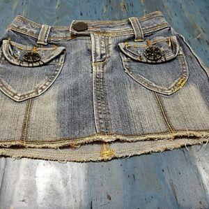 Festival ready jean mini skirt with embellishments